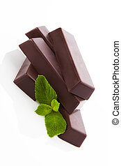 Mint chocolate bar isolated. - Delicious chocolate bar with...