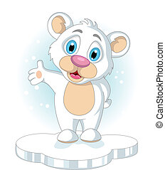 cute little Polar bear cartoon - vector illustration of cute...