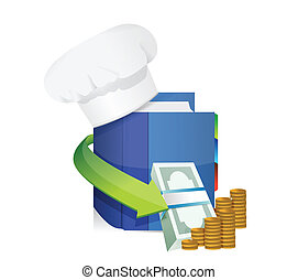 chefs hat and cook book profits illustration design over...