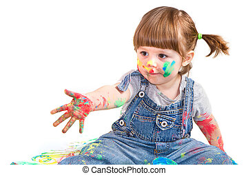 baby girl artist - a baby girl artist playing with colors