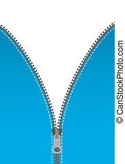 zipper - vector illustration of an opened zipper with white...