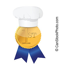 cooking contest 1st place winner ribbon illustration design