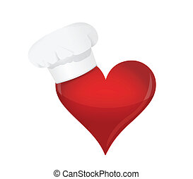 food lover concept. Heart and chef hat. illustration design...