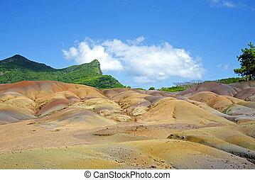 Sand multicolor, Chamarel Mauritius - Sand multicolor. The...
