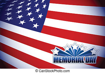 Memorial day red white and blue illustration design graphic...