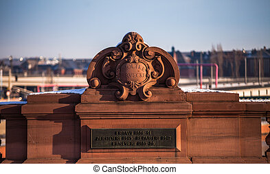 ornament on a bridge with metal plate