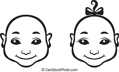 Baby face - Image of black and white contour cartoon baby...