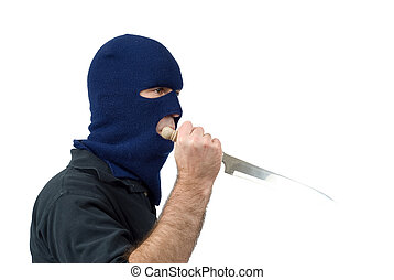 Mugger - Isolated mugger with a knife and wearing a...