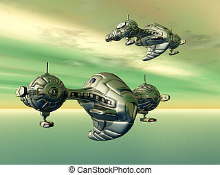 Alien Spacecrafts - Computer generated 3D illustration with...