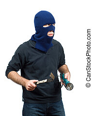 Home Burglary - A home burglar isolated against a white...