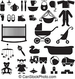 Set of childrens things - Set of silhouette images of...