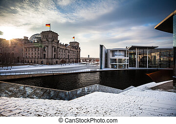 government district with Reichstag in Berlin