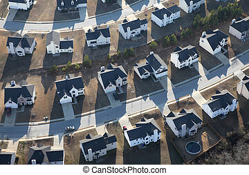 Modern Suburban Homes Aerial - Aerial of typical modern...