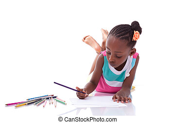 Cute black african american little girl drawing, isolated on...