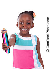 Cute black african american little girl holding color...
