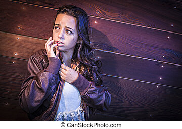 Frightened Pretty Young Woman in Dark Walkway at Night -...