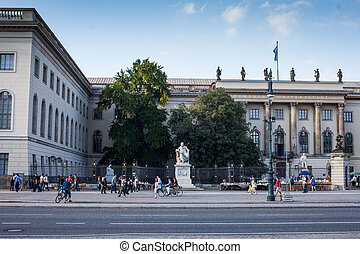 Humboldt University - statue in front of the Humboldt...