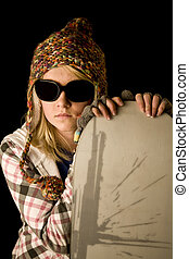 Teen snowboard - Young teen girl with snowboard Isolated on...