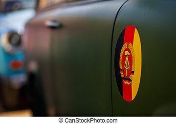 GDR - insignia of the GDR on a car
