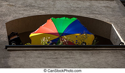 parasol - colorful parasol on a balcony