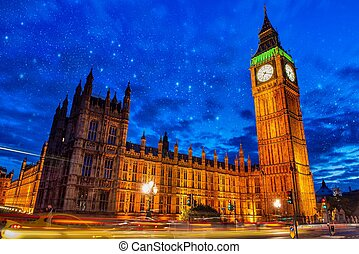 Lights of Big Ben Tower in London