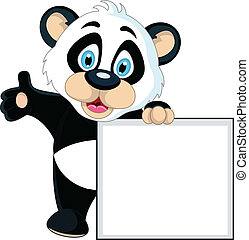 cute Baby panda holding blank sign - vector illustration of...