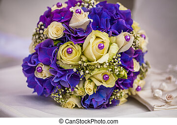 bridal bouquet - purple and yellow bridal bouquet