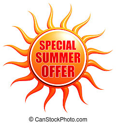 special summer offer in 3d sun label