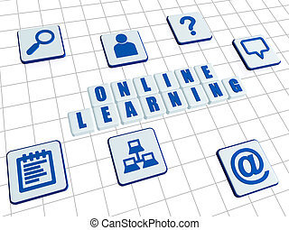online learning and internet signs in white blocks