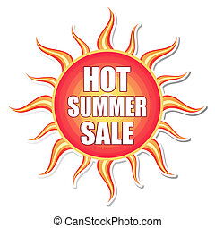 hot summer sale in sun label - hot summer sale banner - text...