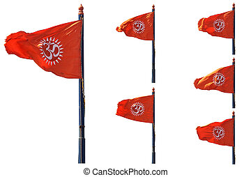 Om flag - many poses of an indian orange flag with the sign...