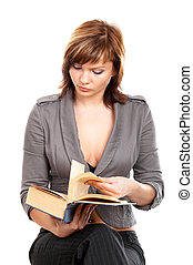 Girl with a book - Young girl in white blouse isolated at...