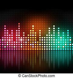 utjämnare, flerfärgad, musik