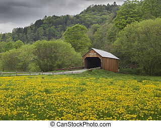 New England covered bridge in the state of Vermont...