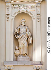 statue - stone statue of a philosopher in a niche