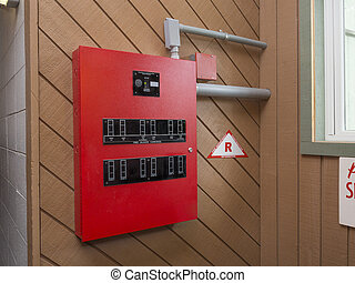 Fire alarm control panel in apartment complex