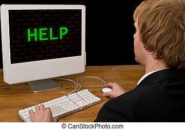 computador, homem