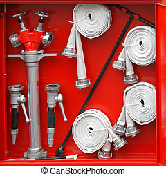 Hydrant equipment - Fire fighters equipment in the red box