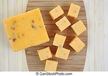 Cheddar Salami Cheese Chunk and Cubes - Looking down at a...