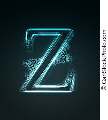 Glowing font. Shiny letter Z. - Glowing neon letter with...