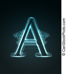 Glowing font. Shiny letter A - Glowing neon letter with...
