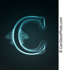 Glowing font. Shiny letter C - Glowing neon letter with...