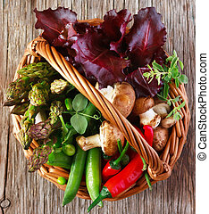 Fresh vegetables - Fresh kitchen garden vegetables in a...