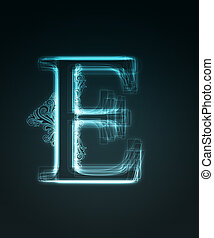 Glowing font Shiny letter E - Glowing neon letter with...