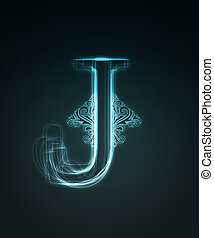 Glowing font. Shiny letter J - Glowing neon letter with...