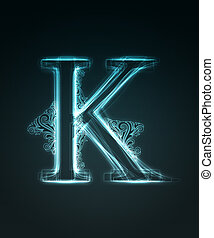 Glowing font Shiny letter K - Glowing neon letter with...