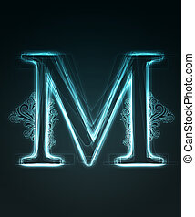 Glowing font. Shiny letter M. - Glowing neon letter with...