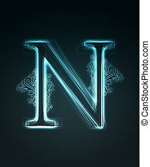 Glowing font. Shiny letter N - Glowing neon letter with...