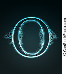 Glowing font. Shiny letter O. - Glowing neon letter with...