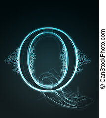 Glowing font. Shiny letter Q. - Glowing neon letter with...